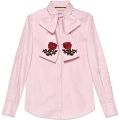 Gucci Washed Oxford Shirt With Scarf (£825) ❤ liked on Polyvore featuring tops, shirts, all tops, kirna zabete, flower shirt, pink shirts, gucci, poppy shirt and pink top