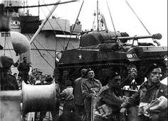 1st Polish Armoured Division Sherman Firefly being unloaded
