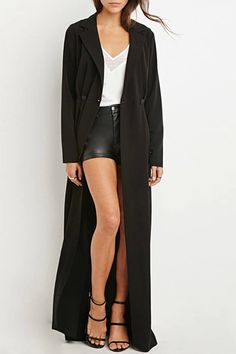 --> OK maybe not the cat-woman outfit underneath(for goodness sake - make up your mind! Is it summer or winter?) but love this coat.      'Black Lapel Long Sleeve Maxi Coat
