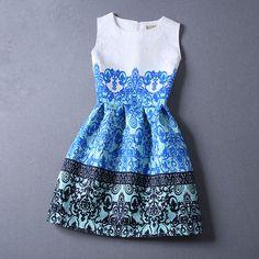 Gender: Women Waistline: Empire Dresses Length: Above Knee, Mini Neckline: O-Neck Sleeve Length: Sleeveless Style: Casual Material: Jacquard size Chest Width(cm) Waist Width(cm) Skirt length(cm) S 82