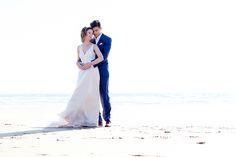 Woolacombe Beach wedding Bride and groom high key
