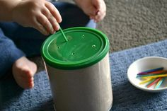 Found on Hellobee.com! Threading acitvity with recycled container