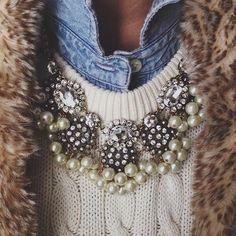 statement necklace, chambray, fur vest