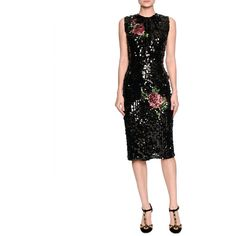 Dolce & Gabbana Sleeveless Sequined Rose Cocktail Dress ($5,495) ❤ liked on Polyvore featuring dresses, black, women's apparel dresses, sequin cocktail dresses, sleeveless dress, form fitting dresses, beaded dress and sequin dresses