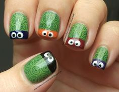 Nails Inspired by A Movie: Ninja Turtles--- my son said these were the coolest nails he's ever seen so I had to re-pin