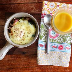 Baked egg with mushrooms