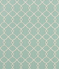 Waverly Chippendale Sun N Shade Fretwork Mineral - $9.8 | onlinefabricstore.net If we incorporate blue into living room this could be pretty to reupholster furniture with.