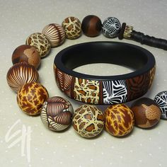 Polymer Clay bracelet and necklace. Safari set | Flickr - Photo Sharing!