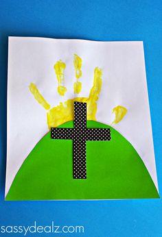 Easter Handprint Cross Craft for Kids - Sassy Dealz. Good idea for my Kindergarten Sunday School class!