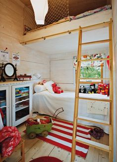 love the built in bunk beds love the idea of a window for each bunk - would need a bookshelf at the end of bed.  Imagine setting on your bed reading or studying and being able to look out the window and day dreaming.