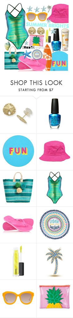 """Summer Brights: Get Ready for the Beach"" by curekitty ❤ liked on Polyvore featuring OPI, Lisa Perry, Peter Grimm, Mar y Sol, River Island, Superdry, Aveeno, MAC Cosmetics, Alice + Olivia and Sunnylife"