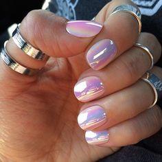 Shiny Hologram Pink Nails