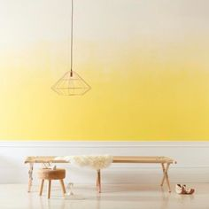 Ombre wall paint inspiration, on trend for The ombre paint gives interest to the space even in the absence of furniture. Ombre Painted Walls, Ombre Walls, Wall Paint Inspiration, Paint Ideas, Yellow Painting, Painting Walls, Bathroom Paintings, Wall Paintings, Faux Painting