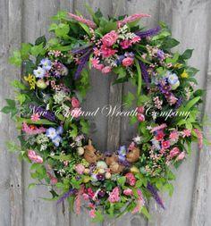Easter Wreath Spring Wreath Bunnies Eggs by NewEnglandWreath, $319.00