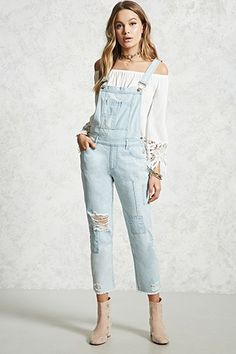 8f00823ff97a9 Distressed Denim Patch Overalls Rompers Women