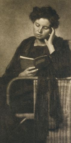 """Unidentified Woman Reading a Book (circa 1910). Heinrich Feistel, Germany. Photogravure, an intaglio printmaking process where a copper plate is coated with a light-sensitive gelatin tissue which had been exposed to a film positive, and then etched, resulting in a print that reproduces the detail and tones of a photograph. Photographische Mitteilungen. Georg Büxenstein & Co. atelier (studio). """"No entertainment is so cheap as reading, nor any pleasure so lasting."""" — Lady Mary Wortley Montagu"""