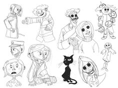 Coraline doodles by DitaDiPolvere on DeviantArt Coraline Cat, Coraline Drawing, Coraline Tattoo, Art Drawings Sketches, Tattoo Sketches, Cute Drawings, Doodle Tattoo, Cat Tattoo, Tim Burton
