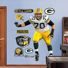 Fathead Green Bay Packers TJ Lang Wall Graphic - Wall Sticker Outlet