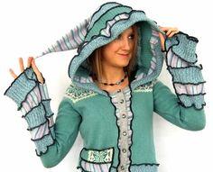 Stripe Pixie hOOdie  Cardigan Sweater  MEDIUM von Fairytea auf Etsy