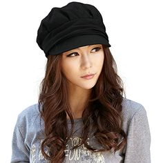 Siggi Wool Newsboy Cabbie Beret Cap for Women Cloche Visor Bill Winter Hat Black >>> Click on the image for additional details.