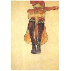 femme assise aux bas violets, Schiele Egon