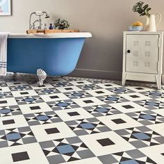 For a bold opulent style the classic pattern of the Clifton range from Karndean Flooring is an excellent choice. Shown here in Dove Grey Azure Lace and Nero Hall Flooring, Grey Flooring, Flooring Tiles, Floors, Bathroom Floor Tiles, Tile Floor, Bathroom Wall, Master Bathroom