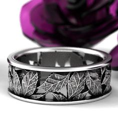 Leaf Ring Wedding Ring Custom Made With Cherry Tree Leaves in