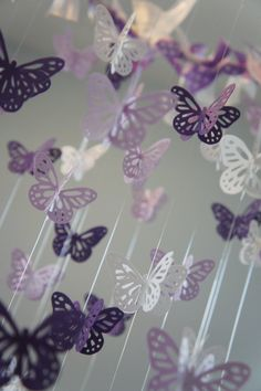Pretty purple butterfly mobile. I like these colors for a mobile.