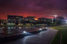 Fiery sky during a stormy night in Darwin, Australia. Milky Way Photography, Travel Photography, Road Trip Hacks, Road Trips, San Francisco Bridge, Travel Photos, Travel Tips, Darwin Australia, Visit Sydney