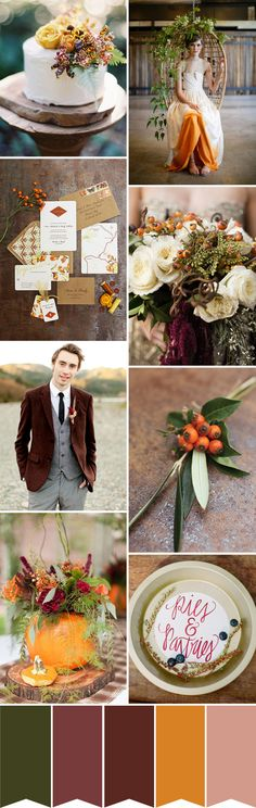The perfect collection of Fall Wedding Decor and Color! Autumnal Warmth - An Autumn Wedding Colour Palette Fall Wedding Colors, Wedding Color Schemes, Colour Schemes, Wedding Flowers, Orange Wedding, Woodland Wedding, Rustic Wedding, Our Wedding, Dream Wedding