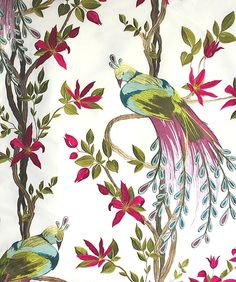 Paradiso Embroidered Curtain Fabric Stunning paradise bird design in applique and embroidery in vibrant colours on an off white cloth