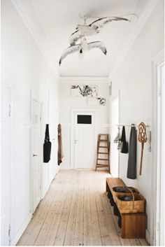 front door, entry, hallway - is that a stuffed seagull.......kind of liking it.