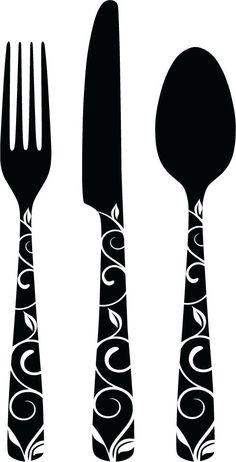 Decorative Cutlery Vinyl Decals  Small by burtonavenue on Etsy, $6.50