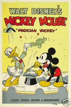 Magician Mickey Disney vintage cartoon movie poster