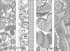 8 Coloring Bookmarks with Abstract Patterns Coloring Doodles