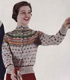 PATTERN Vintage Ski Lodge Button Down Cardigan Sweater to Knit PDF Pattern Color work Fair Isle Button Down Sweater - vintage - Cardigans Vintage Ski, Vintage Winter, Etsy Vintage, Ski Sweater, Sweater Cardigan, Holiday Sweater, Ski Bunnies, Fair Isle Pattern, Fair Isle Knitting