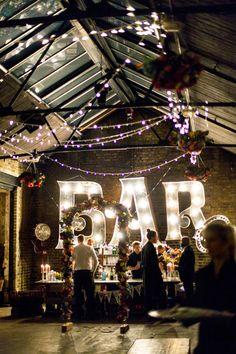 boda barra bar letras iluminadas
