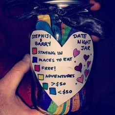 10 diy gifts for your boyfriend date ideas jar, cute date ideas, date night Diy Gifts For Boyfriend, Gifts For Him, Man Gifts, Cute Date Ideas, Gift Ideas, Date Ideas Jar, Date Night Jar, Diy Cadeau, Ideas Hogar