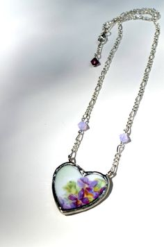 Heart Necklace Vintage Prussian Broken China by BayouGlassArts, $49.00