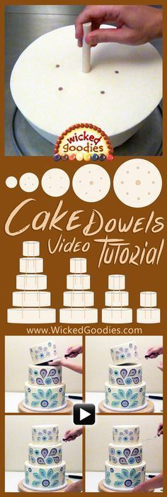 Wood Cake Dowels Video How to stack a tiered cake using wood dowels, video tutorial for how to add interirior supports to wedding cakes, multi-tiered cakes www. Cake Icing, Fondant Cakes, Eat Cake, Cupcake Cakes, Buttercream Frosting, Fondant Tips, Wilton Cakes, Mini Cakes, Cake Decorating Techniques