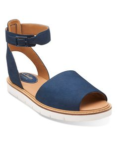 Look what I found on #zulily! Clarks Navy Lydie Hala Leather Ankle-Strap Sandal by Clarks #zulilyfinds
