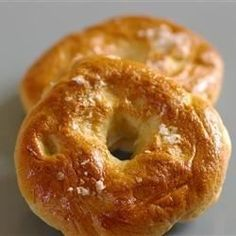 The bread machine does the heavy work, but you still boil and bake these bagels. Top them with poppy seeds, garlic or whatever pleases you.