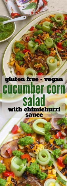Grilled Corn Cucumber Salad with Chimichurri Sauce A summer corn salad recipe with cucumber and chimichurri sauce Corn And Cucumber Salad Recipe, Corn Salad Recipes, Cucumber Recipes, Corn Salads, Healthy Salad Recipes, Veggie Recipes, Lunch Recipes, Indian Food Recipes, Ethnic Recipes