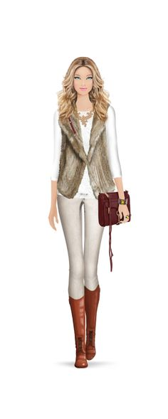 Perfect for fall. Neutrals. Skinny jeans. Cream. Tan. Faux fur vest. Leather purse and boots.