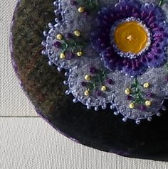 Handmade Pin Cushion Felted Wool Purple Flower