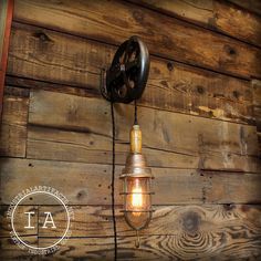 Vintage Industrial Cast Iron Pulley Wood Handle Explosion Proof Trouble Lamp Pendant Light
