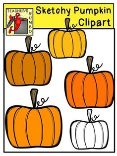 Sketchy Pumpkin Clipart includes 5 pumpkin images saved in PNG format (300 dpi). 4 color images and 1 black and white image included.  All images are the creative property of Teacher's Gumbo. May NOT be re-sold as clipart. May be used personally and commercially.  Happy Fall Y'all!