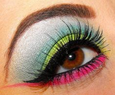 bright pink lime green and blue eye make up #makeup #eyes #eyeshadow