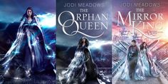 The Orphan Queen series by Jodi Meadows, Draft Cover of Orphan Queen, Chosen Cover of Orphan Queen, Sequel Cover for The Mirror King