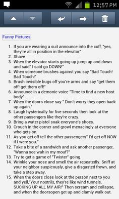 What to do in an elevator Super Funny, Very Funny, Funny Cute, Funny Bucket List, Funny Jokes, Hilarious, Evil Pranks, Things To Do When Bored, April Fools Pranks